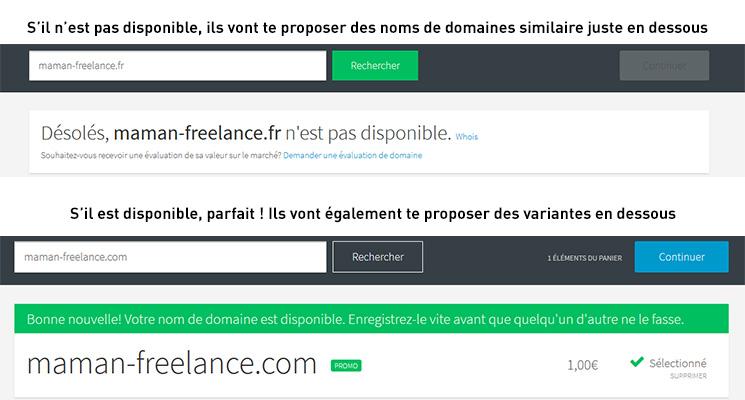 créer un blog wordpress - choisir un nom de domaine disponibilite