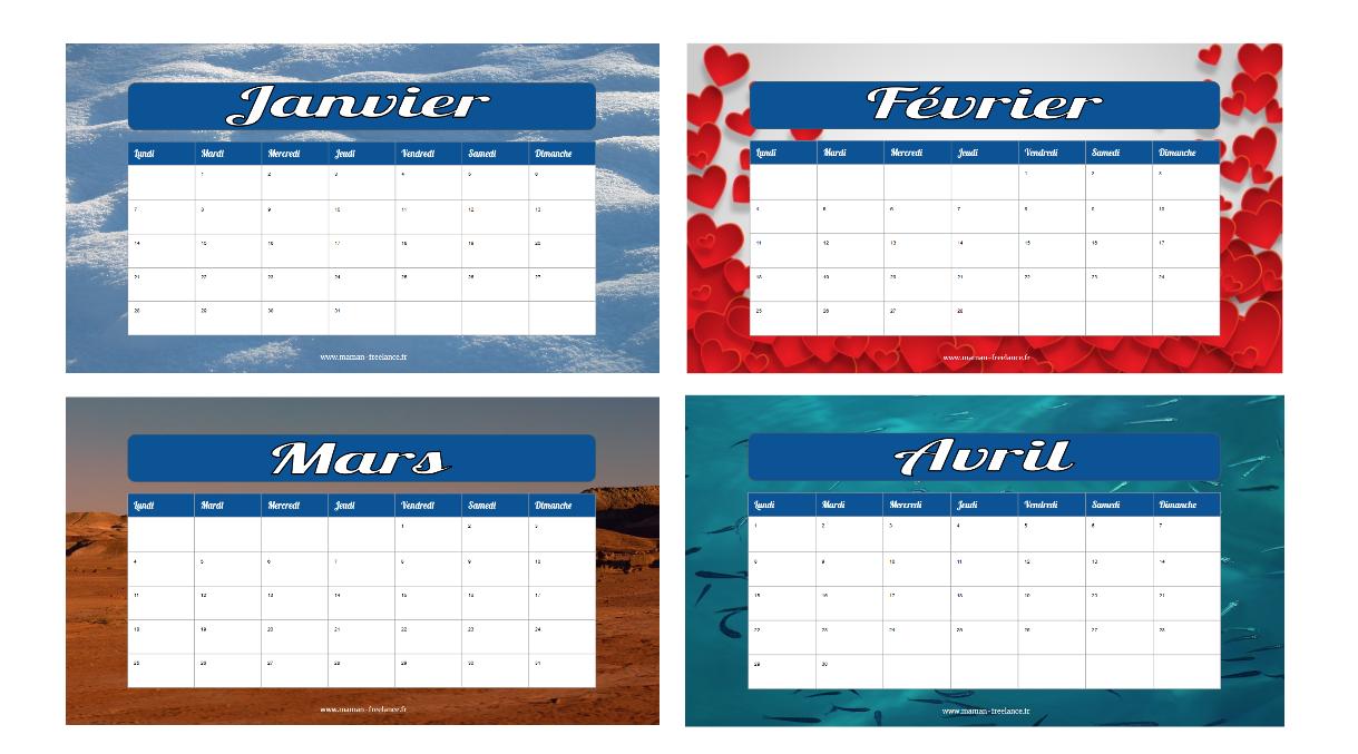 calendrier - maman freelance